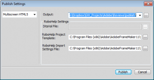 FrameMaker 11 Publish to HTML5 Dialog Box